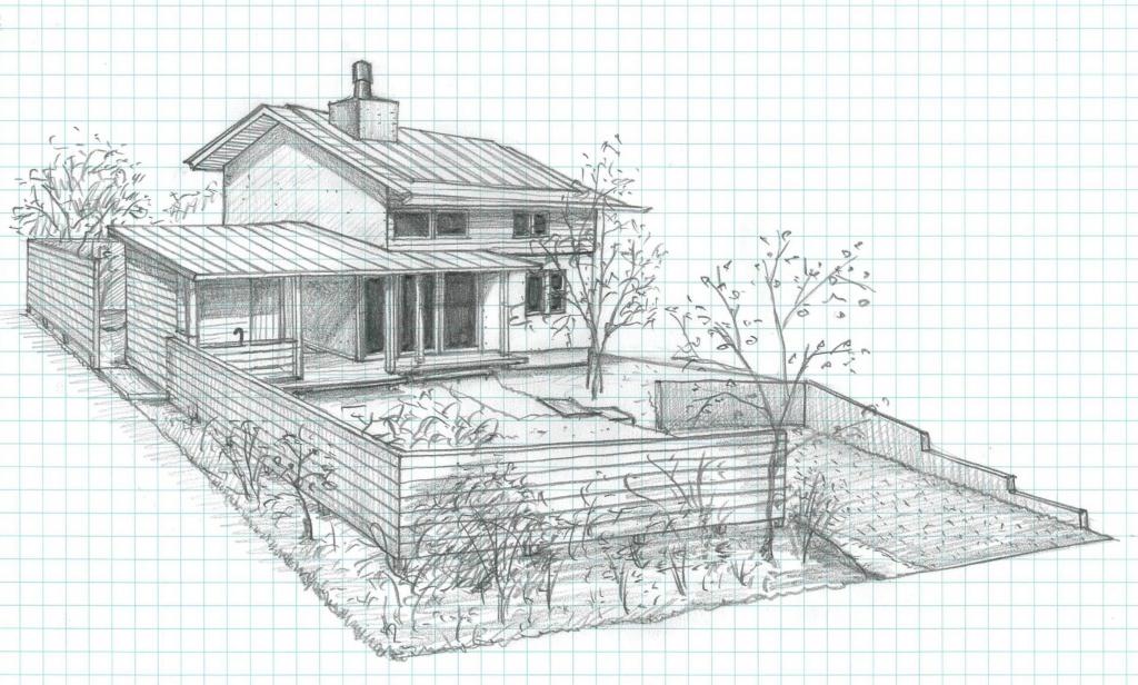 工房と煙突がある家