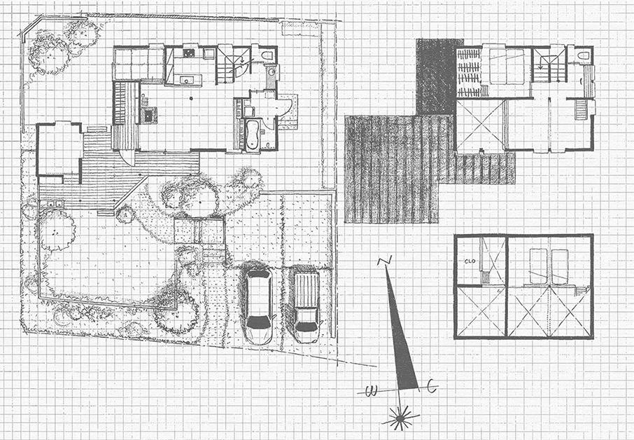 工房と煙突がある家の平面図